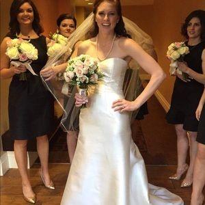 Alfred Sung Black Bow Back Bridesmaid Dress